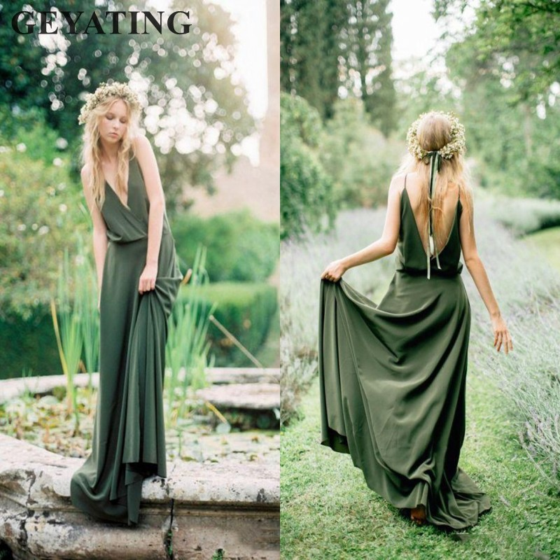 Boho Long Bridesmaid Dresses 2019 Sexy V-Neck Spaghetti Straps Backless Maid of Honor Dress Beach Country Wedding Party Gowns