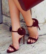 Woman Wine Red Suede Sandals Newest Wings Decorated Ankle Buckles Open toe High Heeled Sexy Cut-out Dress Shoes