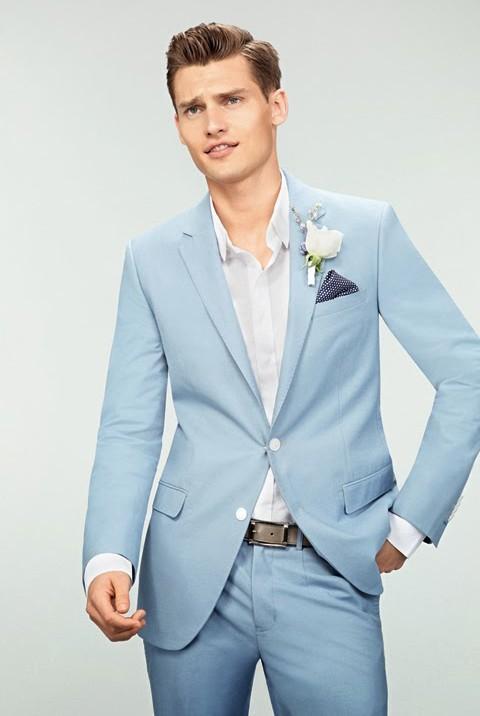 Nueva llegada trajes de boda para hombre azul claro de los novios esmoquin  muesca solapa de trajes para hombre Slim Fit de dos piezas padrinos de boda  traje ... 2776e23505c1