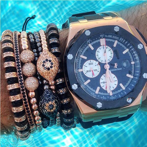 Anil Arjandas Men font b Bracelets b font font b Jewelry b font 24K Rose 4mm