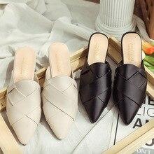 TXJ Pointed Toe Flat Slippers Women Shoes Black Mules Women Slides Fashion Slippers Ladies Flat Mules Female Slider Shoes