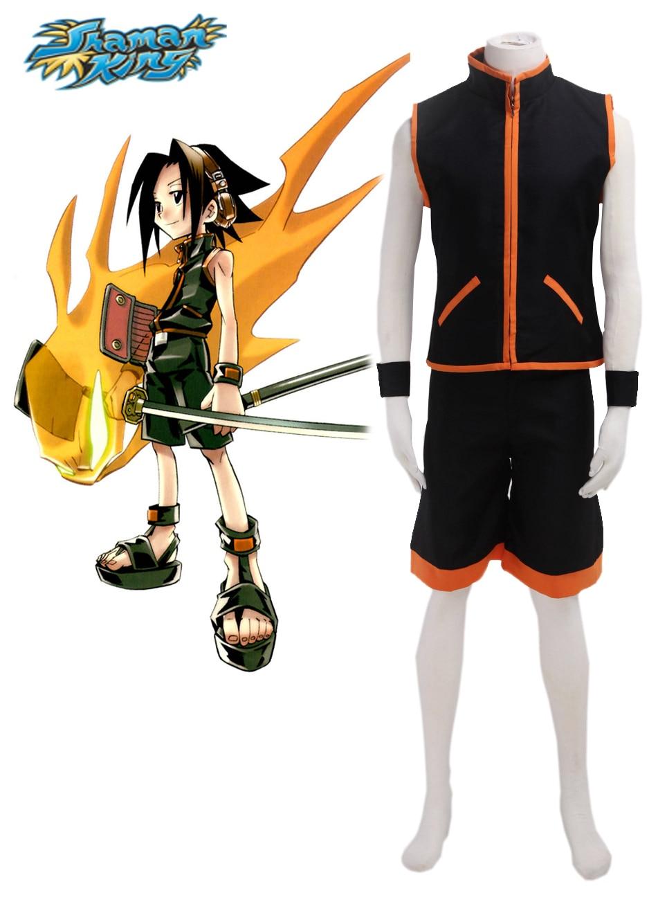 S-3XL Halloween Party Cos Anime Shaman King Cosplay YOU ASAKURA Fighting Uniform Cos Man Woman Cosplay Costume
