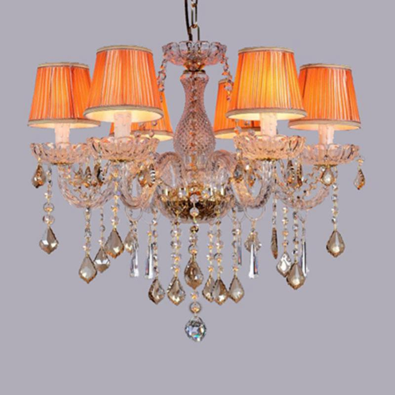 pink & cognac Kitchen crystal chandelier Lustres home lights & lighting luminaria 2017 hot sale dining room Led chandeliers