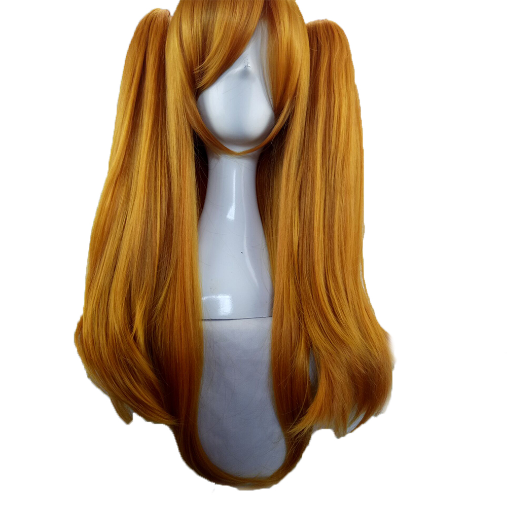 HAIRJOY  Synthetic Hair Woman 70cm Long Straight  Braided Orange Blonde Party  Wigs +2 Clips Ponytail Cosplay Wig 5