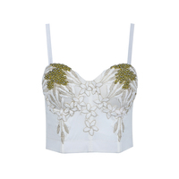 DressBird Gold Bead Bustier Flower Party Blouse Sexy Night Club Women's Bra Cropped Top Vest Bodycon Camis Top White
