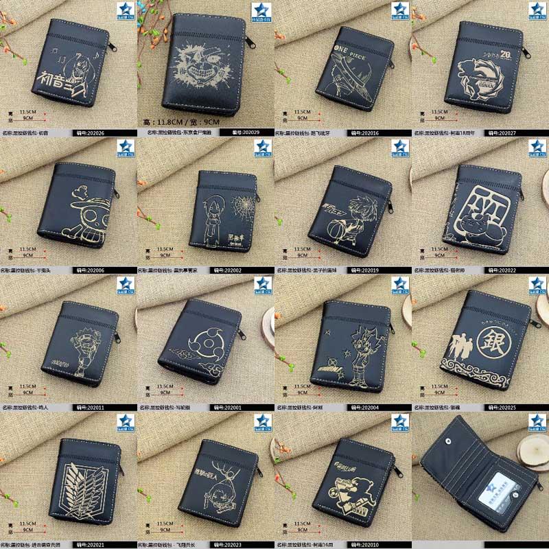 Black Anime Black Butler/Gintama/Hatsune Miku/Hitman Reborn/Naruto/Tokyo Ghoul/One Piece/Totoro etc Short Wallet/Zipper Purse