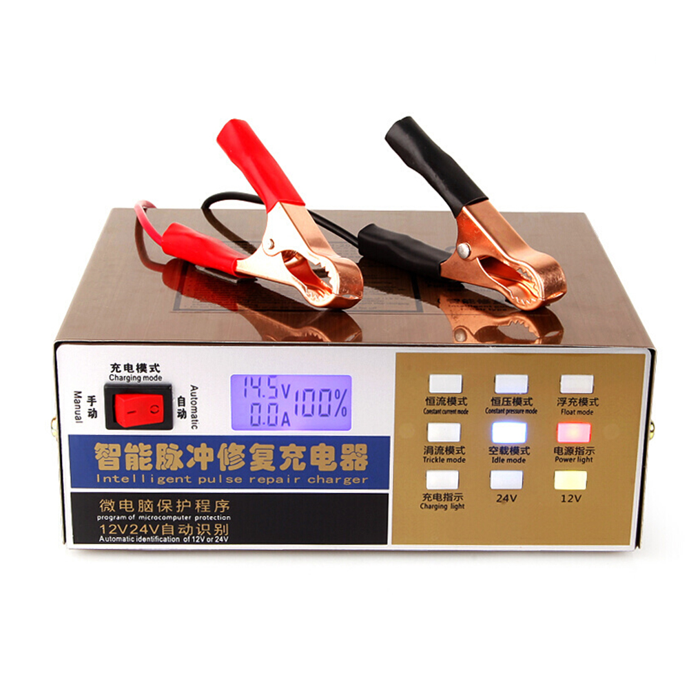 12 24V Car Motorcycle Battery Chargers 110V 250V Full Automatic Car Charger Intelligent Pulse Repair Battery
