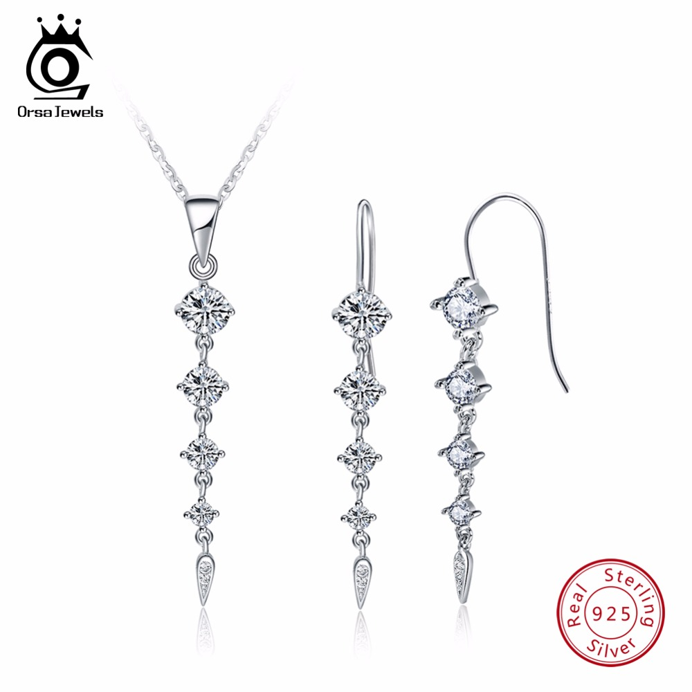 ORSA JEWELS Pure 925 Sterling Silver Sets For Women Long Leaf Shape AAA Cubic Zircon Necklace&Earring Fashion Jewelry Set SS14 round flowers pendant necklace and stud earring jewelry set for women with aaa cubic zircon hight quality fashion jewelry sets