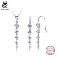 ORSA JEWELS Pure 925 Sterling Silver Sets For Women Long Leaf Shape AAA Cubic Zircon Necklace
