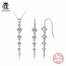 ORSA JEWELS Pure 925 Sterling Silver Sets For Women Long Leaf Shape AAA Cubic Zircon Necklace&Earring Fashion Jewelry Set SS14(China)