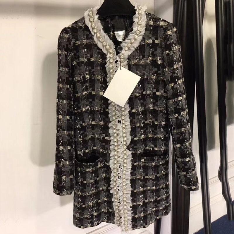 Top Qualitylong jacket women autumn spring long sleeve jacket coat fashion pearls plaid jacket