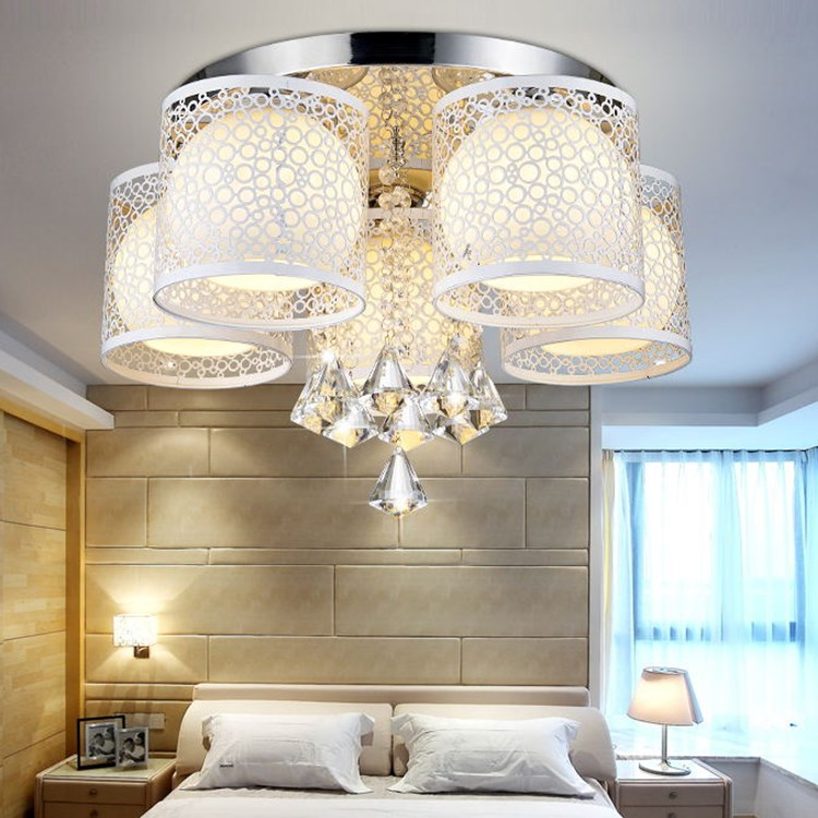 8 Heads Foyer Lamps Round Led Crystal Ceiling Light For