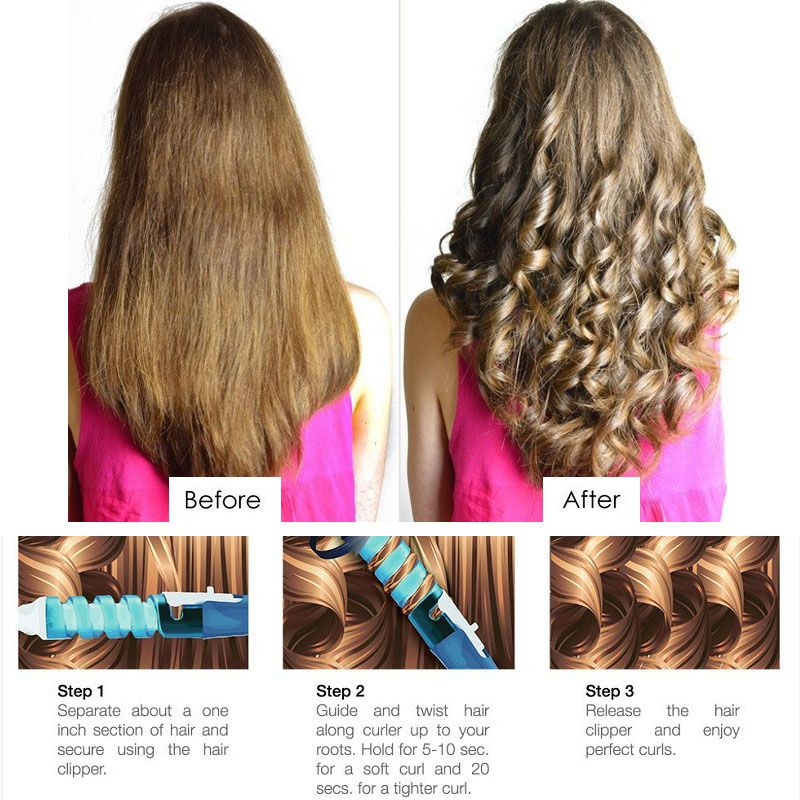 Magic Pro Hair Curlers Electric Curl Ceramic Spiral  Curling Iron Wand Salon  Styling Tools Styler