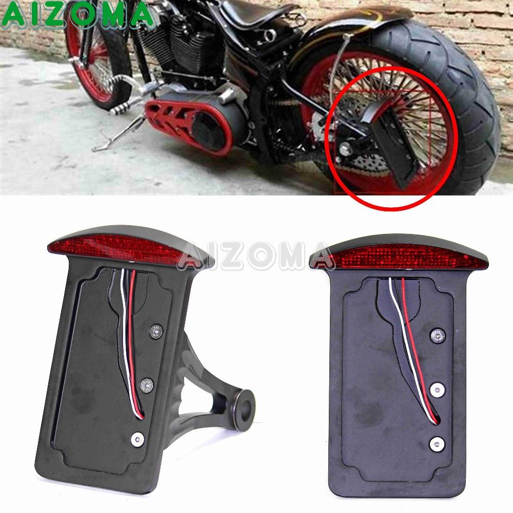 Red Brake Tail Light Lamp License Plate Holder Bracket For Harley Chopper Bobber
