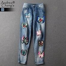 2016 взлетно-посадочной полосы дизайнер джинсы женские джинсовые брюки капри лодыжки длины высокого качества бисероплетение бабочки беленой почесал джинсы бренд