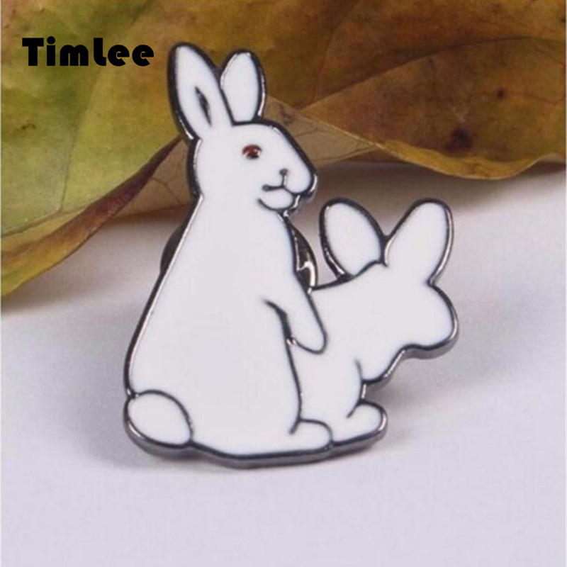 Timlee X043 Անվճար առաքում Cute 2 White Rabbitits Evil Brooch Pins, Fashion Jewelry Wholesale