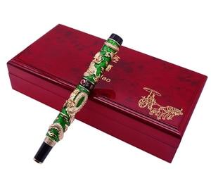 Image 5 - Luxury  Handmade Jinhao Roller Ball Pen, Green Cloisonne Double Dragon Pen Advanced Craft Writing Gift Pen for Business Graduate