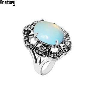 Anstory Opal Rings For Women Flower Vintage Jewelry