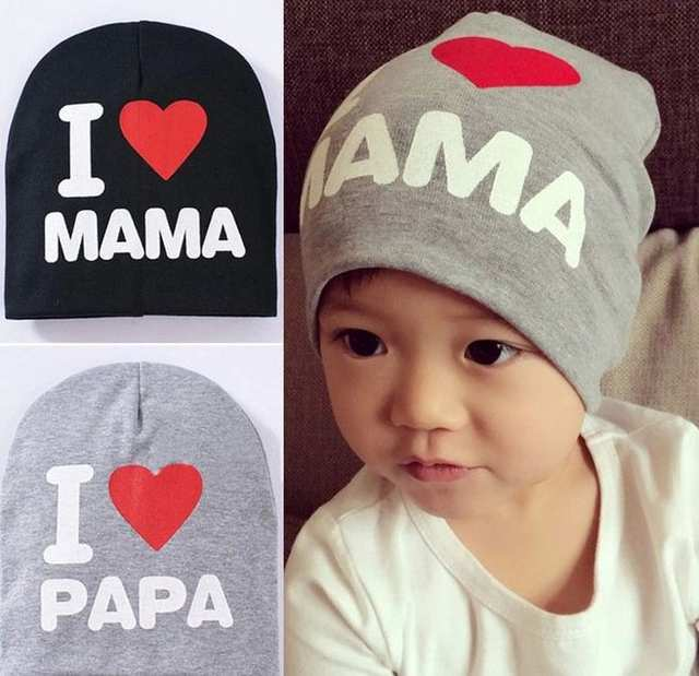 dd1ee1e7a Spring Autumn Knitted Warm Beanie Cotton Baby Hat For Girls Toddler Baby  Kids Boy I LOVE PAPA MAMA Print Baby Cap Children