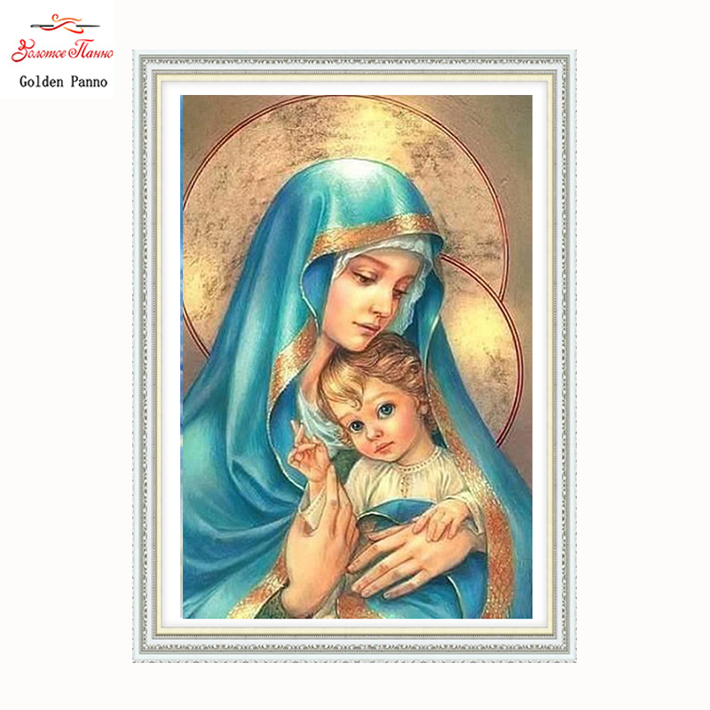 Golden Panno Needlework DIY DMC Cross stitch Sets For Embroidery kits Precise unprinted religion Patterns Counted