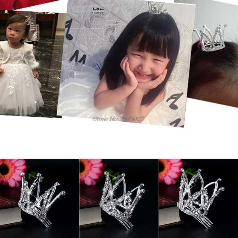 Мини Для женщин Девушка горный хрусталь корона свадебный гребешок для волос в виде тиары Pin для Свадебная вечеринка-W128