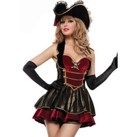 Royal Deluxe Female Pirate Costumes 2017 Sexy Cosplay Halloween Clothing Pirates Caribbean Women's Fancy Party Dress Carnaval