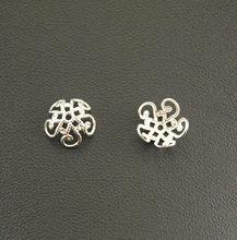 50 pces metal liga de zinco bronze oco flor fim grânulos bonés jóias descobertas, acessórios 10mm a1219/a1220
