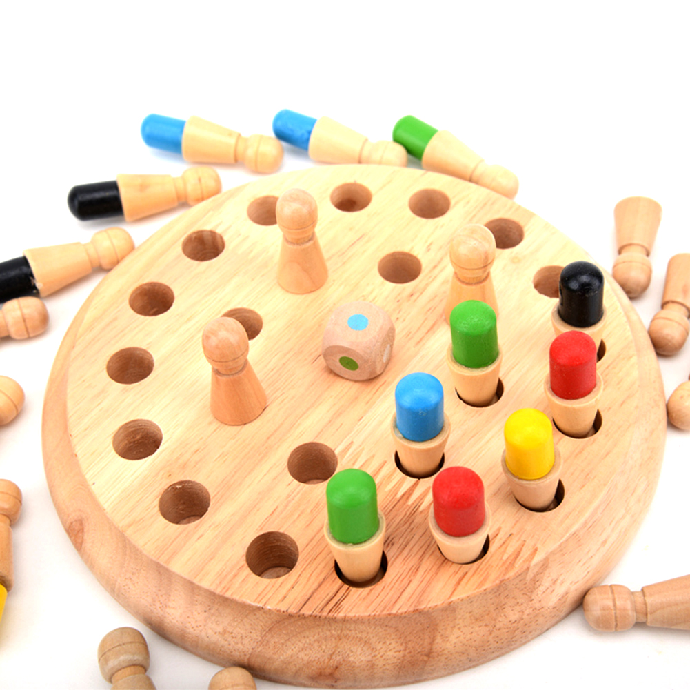 Wooden Round Memory Match Stick Chess Game Toys Wood Children Montessori Brinquedo Kids Early Educational Blocks Toy
