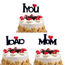 Cake Toppers Flags I LOVE YOU MOM/DAD Birthday Cupcake Topper Wedding Bride Groom Party Baby Shower Baking DIY Xmas