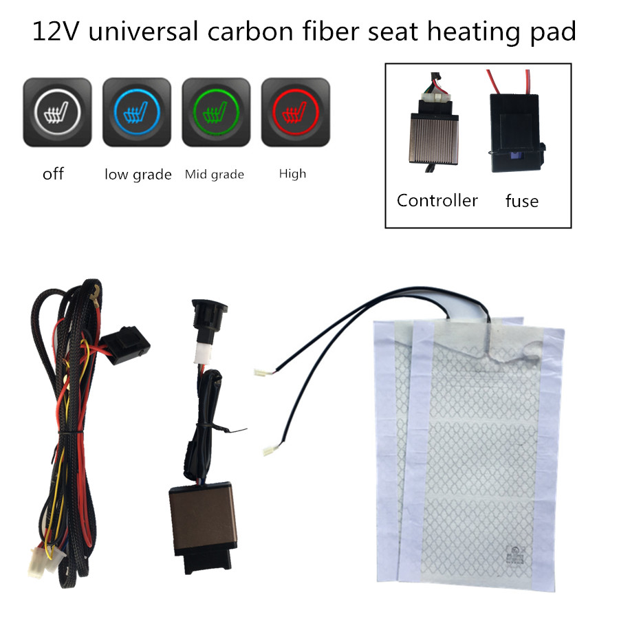 WATERCARBON Tech Era Carbon Fiber Seat Heater Kit Hi//Lo Setting 2 Seats New Pattern LED 3 Files knob Type Heating Switch/×1