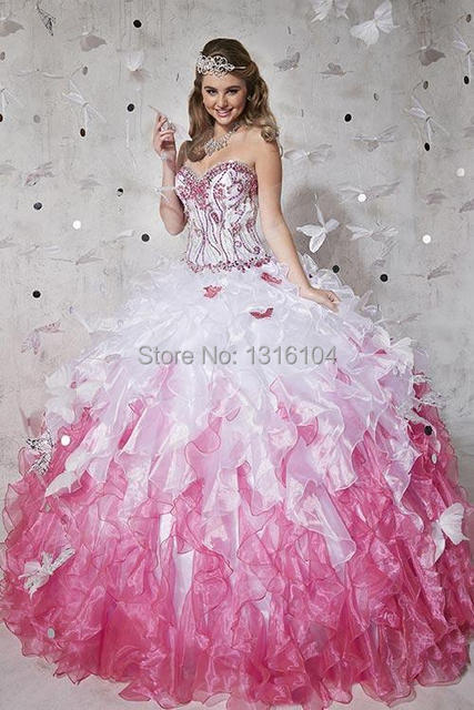 ed112fd1f3b 2016 Big White Fuchsia Two Tones Quinceanera Dresses Sweetheart Organza  Ball Gown Wedding Sweet 15 16