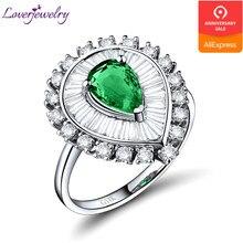 c7c4ba5c722f Esmeralda anillos para las mujeres de 5x7mm oro blanco de 18 k diamante  Natural de piedras preciosas Esmeralda de la fiesta de c.