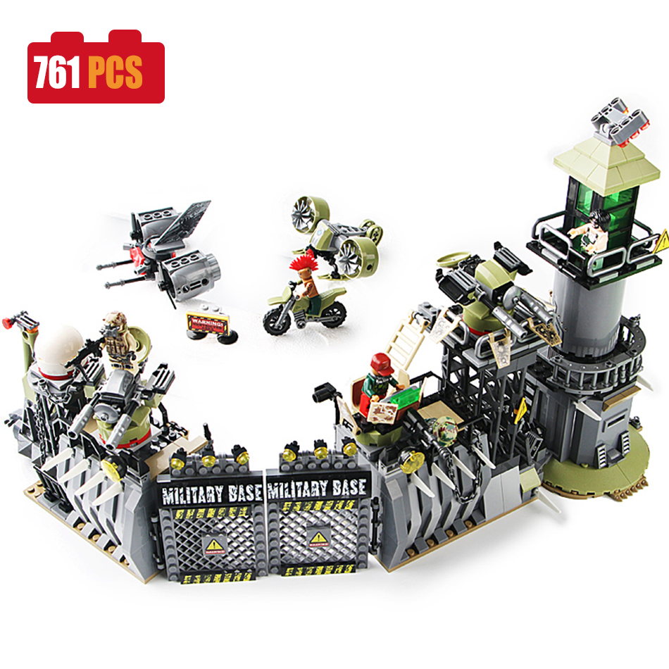 SEMBO 761pcs Military figures with weapon Building Blocks compatible legoed World War II Army Jungle enlighten toys for Children enlighten 1406 8 in 1 combat zones military army cars aircraft carrier weapon building blocks toys for children