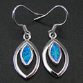 Fine Jewelry 100% 925 Sterling Silver Drop Earrings Jewelry Earrings with Blue Fire Opal For Women
