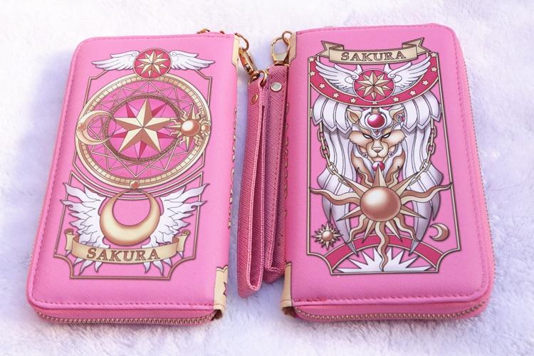 Cardcaptor Sakura Wallet Sailor Moon PU Magic Card Clow Card Girl Long Version Wallet Wine Red