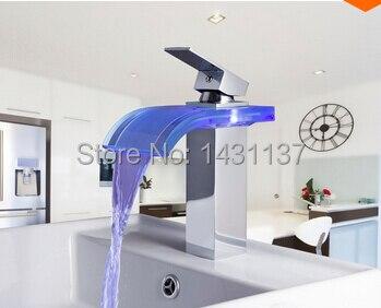 Модная Высококачественная обувь с подсветкой ванной горячей и холодной бассейна кран водопад смеситель со светодиодной