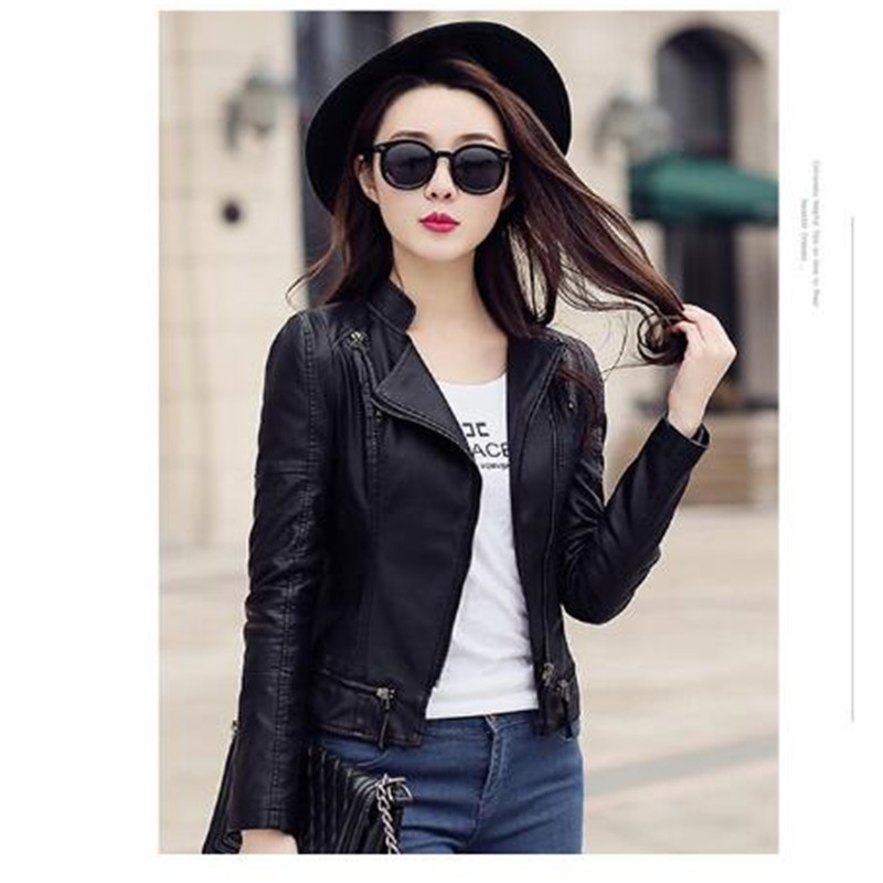 Spring Autumn Women Leather   Jacket   2019 Soft Faux Washed Leather Coat Long Sleeve Slim Zipper New Ladies   Basic     Jackets   Outwear