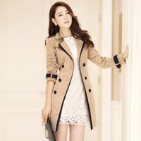 WEIXINBUY Fashion Women Female Collar Jacket Lace Turn down Solid Coat Winter Clothing Outerwear Up Slim Khaki Casual