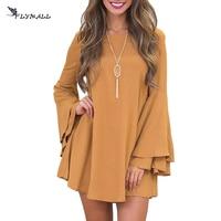 Winter Mini Dress Women Long Flare Sleeve Dresses Brief Loose Casual A Line Mini Dress Women