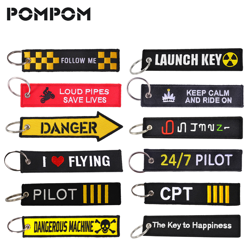 POMPOM Danger Keychain For Motorcycles And Cars Yellow Key Fobs Emboridery Key Chain Tag Fashion Motor Sleutelhanger Jewelry