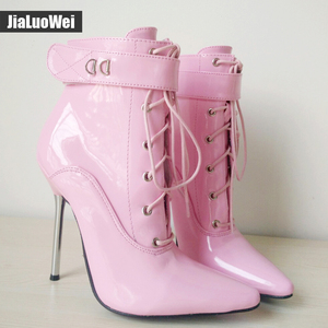 Image 4 - jialuowei 2018 Women Pointed Toe Ankle Strap Boot Lady Cross tied 12C Metal Thin High Heels Sexy Fetish Padlocks Lockable Boots