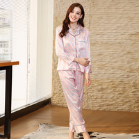SSH0128 2018 New Women Pajamas Spring Full Sleeves Full Length Pant 2 Pieces Pajama Set Satin Silk Pink Pyjama Pijama Sleepwear