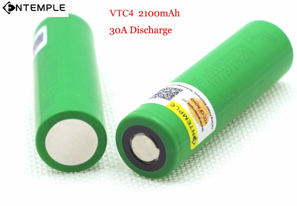 2PCS ENTEMPLE VTC4 3.7V 2100 mAh 18650 Li-ion Battery 35A Discharge for Sony US18650VTC4 Toy Flashlight Tools E-cigarette ues