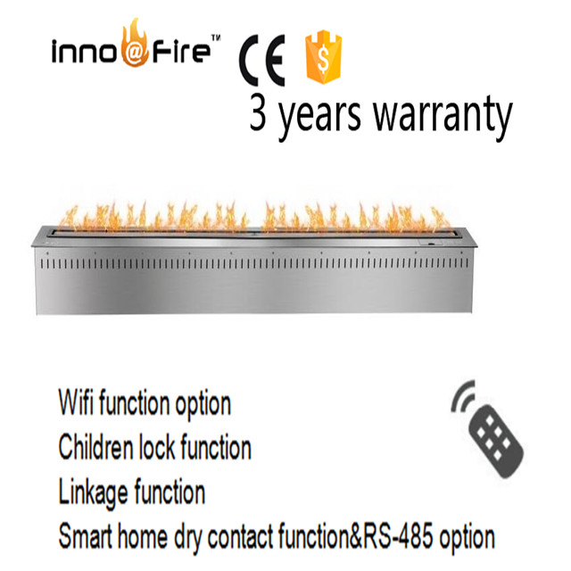 60 Inch L Indoor Auto  Wifi Smart Black Or Silver Bioethanol Remote Control For Fireplace