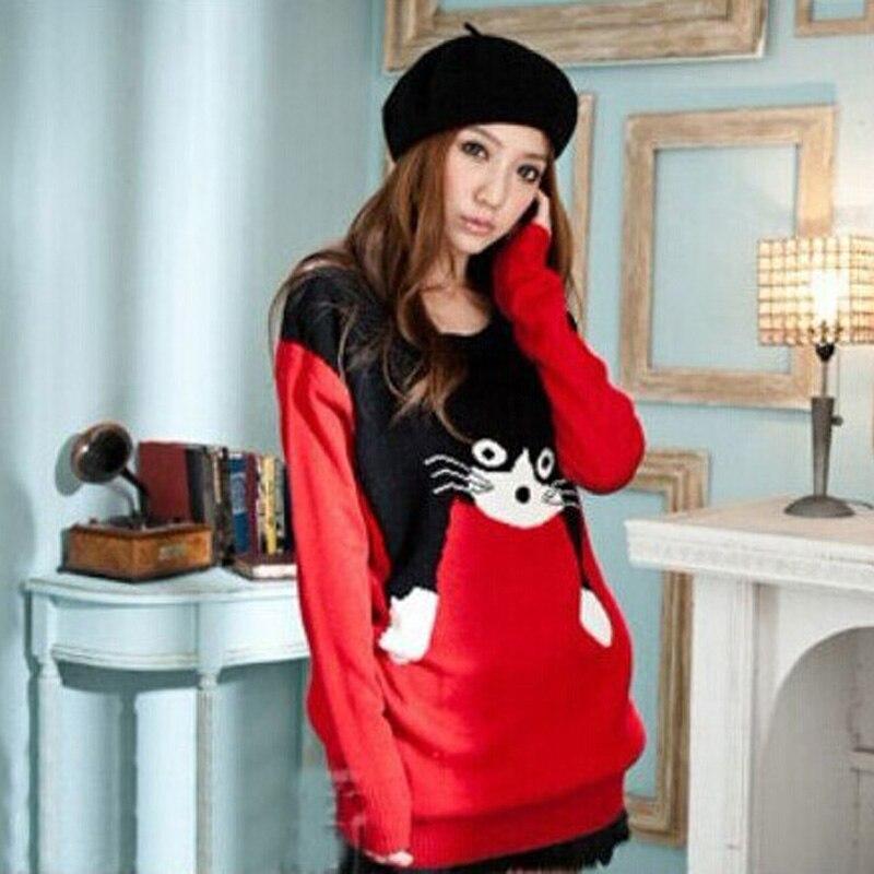 Nueva Otoño Invierno Moda Casual Suéteres Loose Women Suéteres de Géneros de Pu