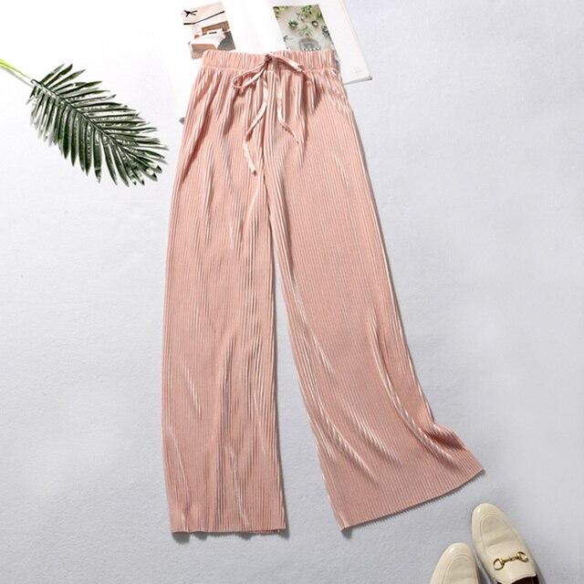 Summer Wide Leg Pants Casual Elastic High Waist 3