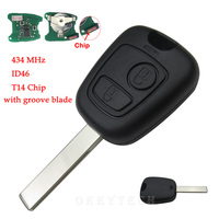 Remote Car Key For Peugeot 307 407 With 434 MHz T14 ID46 Chip 2 Button Transponder