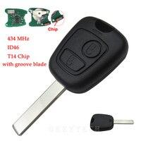 Uzaktan Araba Anahtarı 434 MHz T14 ID46 Ile Peugeot 307 407 Için çip Ile 2 Düğme Transponder Anahtar Shell Uncut Oluk Bıçak PCB Pil