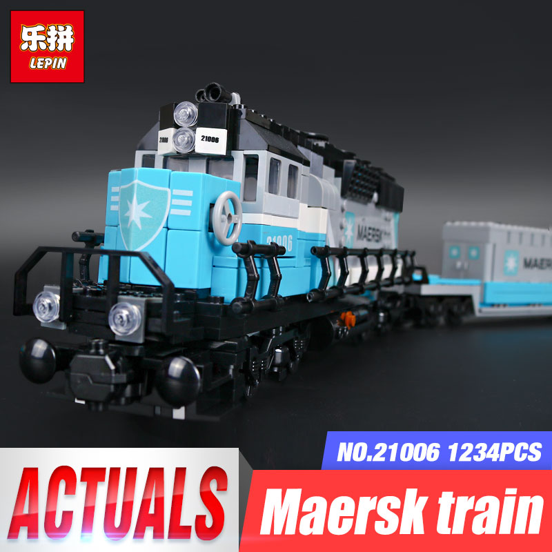 Lepin 21006 1234Pcs Genuine Technic Ultimate Series The Maersk Train Set Building Blocks Bricks Educational Children Toys 10219 lepin 21006 compatible builder the maersk train 10219 building blocks policeman toys for children
