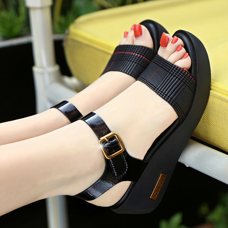 Sandals Female Summer Flat 2019 New Wild With High Heel Wedges Comfortable Non-slip Soft Bottom Pregnant Women Mother Shoes 52
